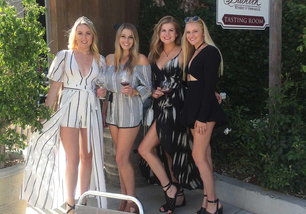 Friends at winery wine tasting