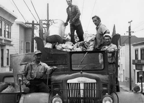 """Picture, circa 1950, of the traditional """"open truck"""" that had been used by the company since the turn of the twentieth century; the only """"improvement"""" was that a gasoline engine replaced the horse in 1920. The picture shows Attilo Borghello, Aldo Bacigalupi, Mario Stefanelli (author's cousin), and Terso Bioni. Terso's two brothers, Ned and Bob, also worked for the company. Courtesy of the author."""