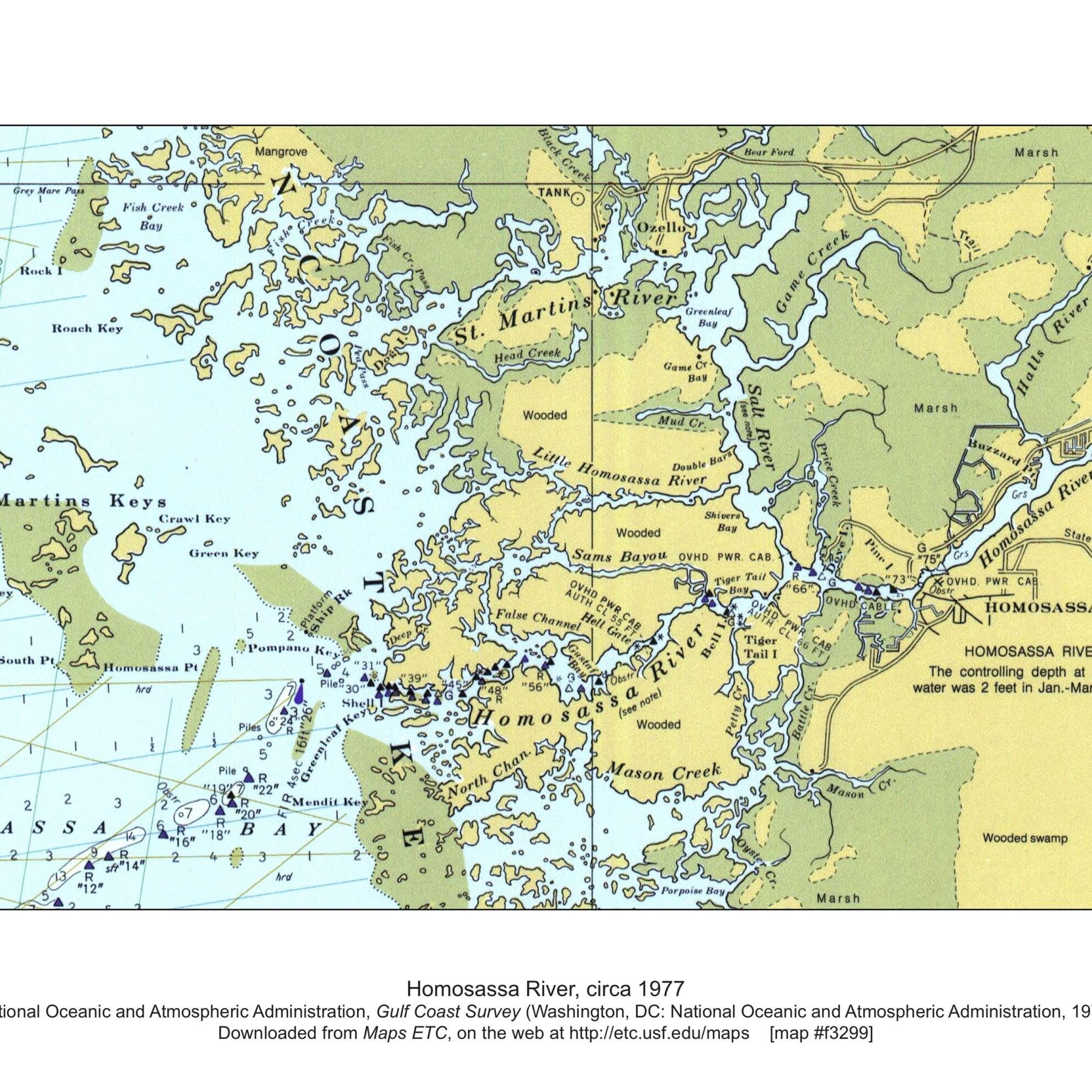 Homosassa River Map NOAA 1977
