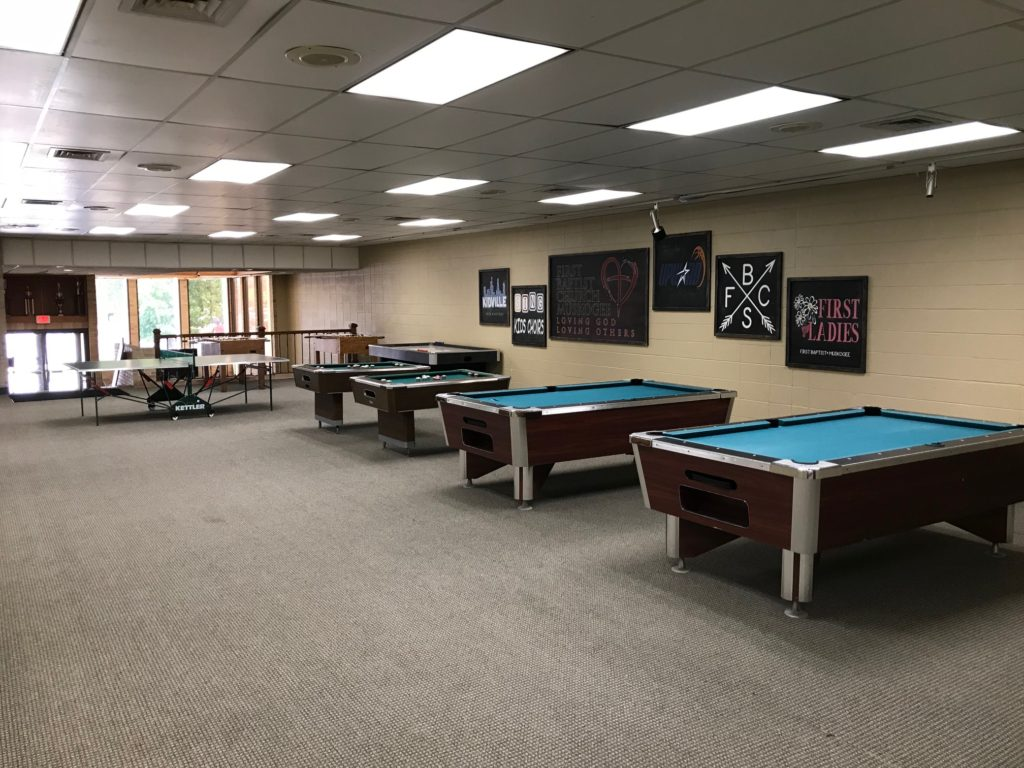 Game room with pool, ping, pong, air hockey, and more