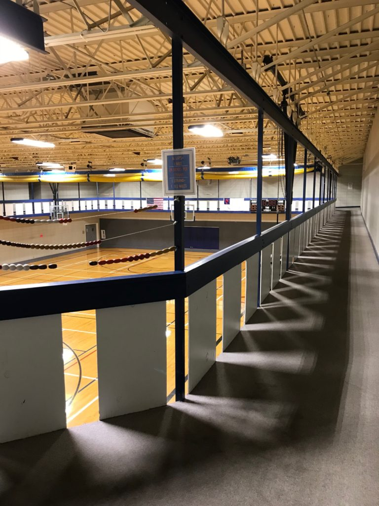 Running track above gym
