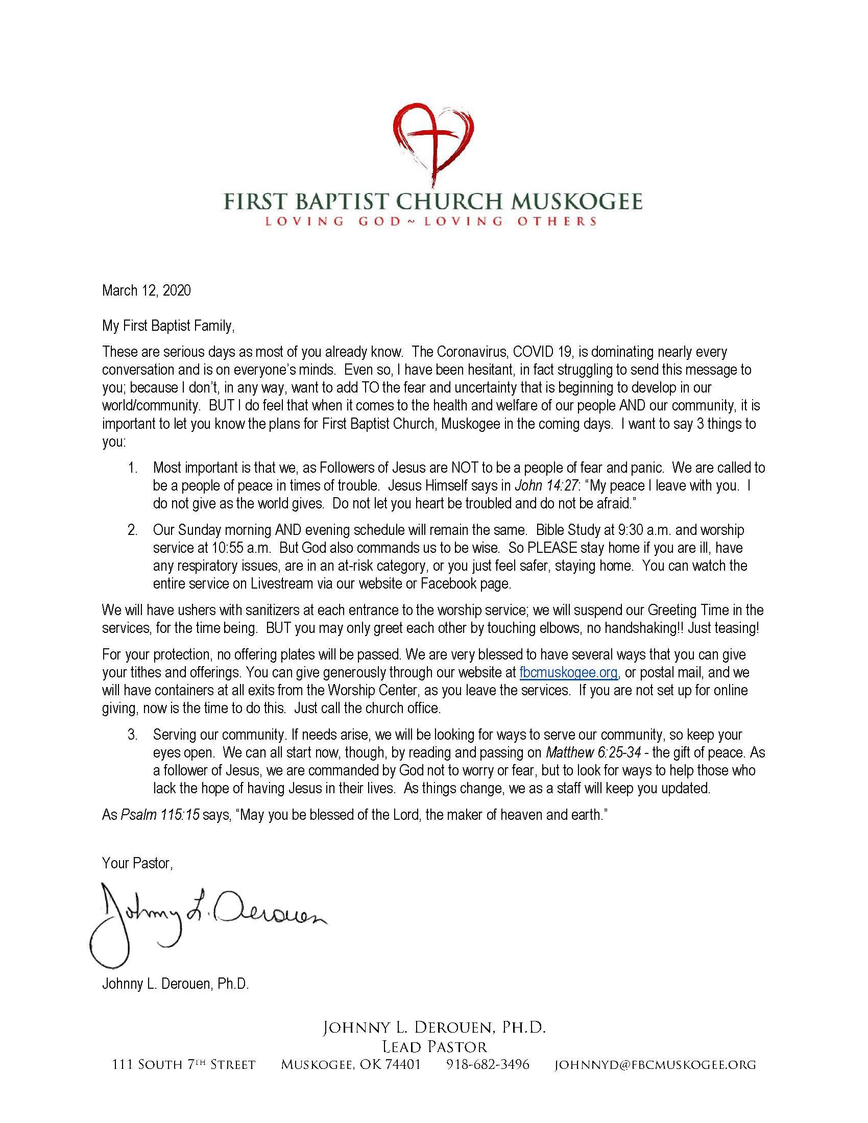 Coronavirus Letter