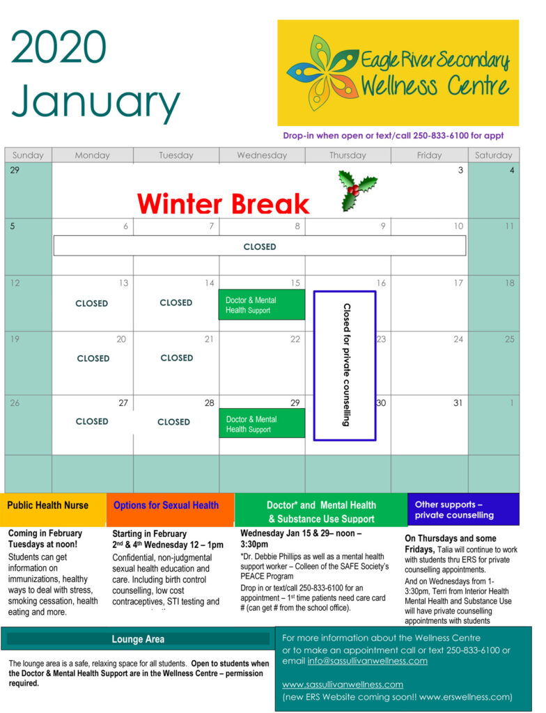 January 2020 ERS Wellness Centre Calendar