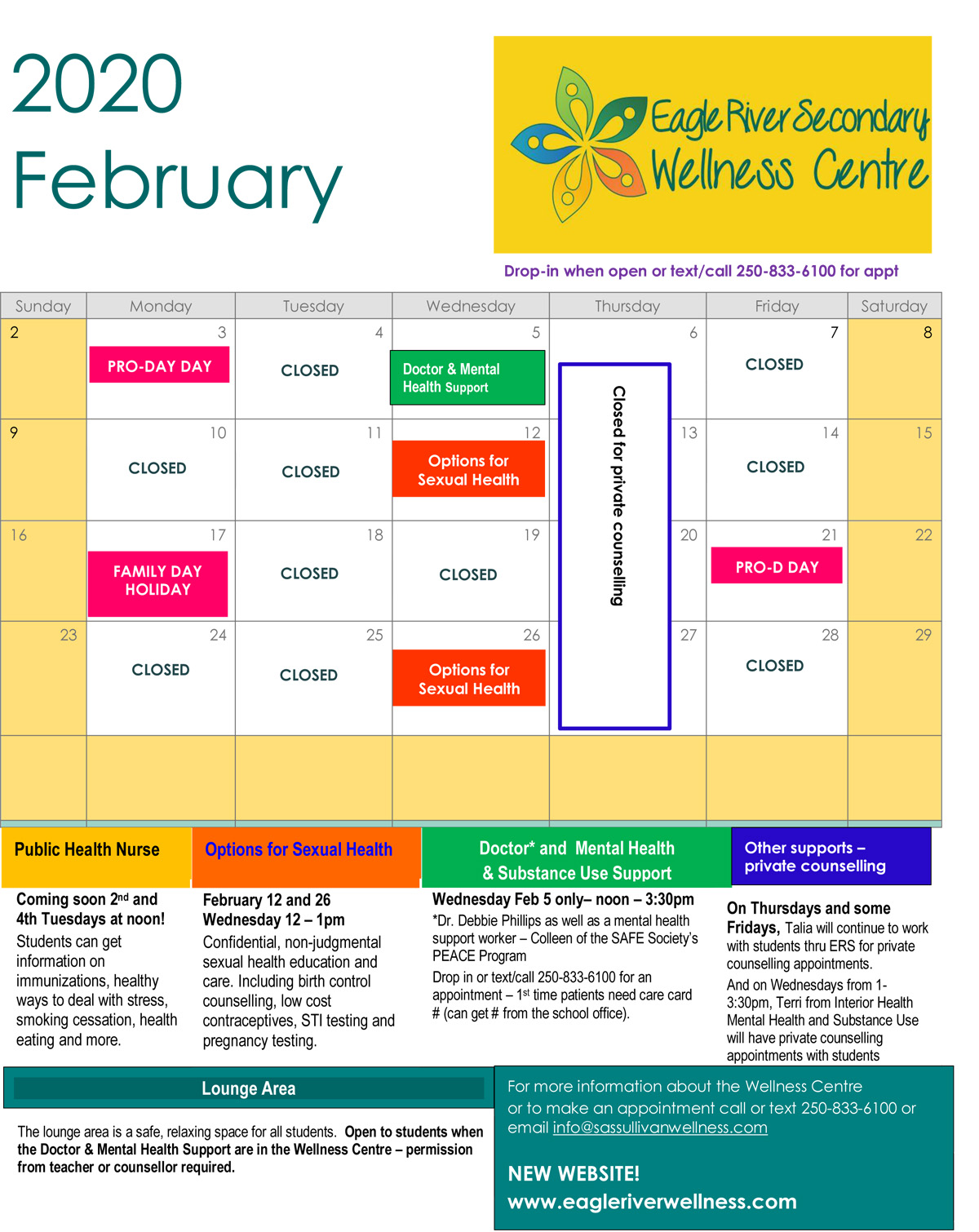 February 2020 ERS Wellness Centre Calendar