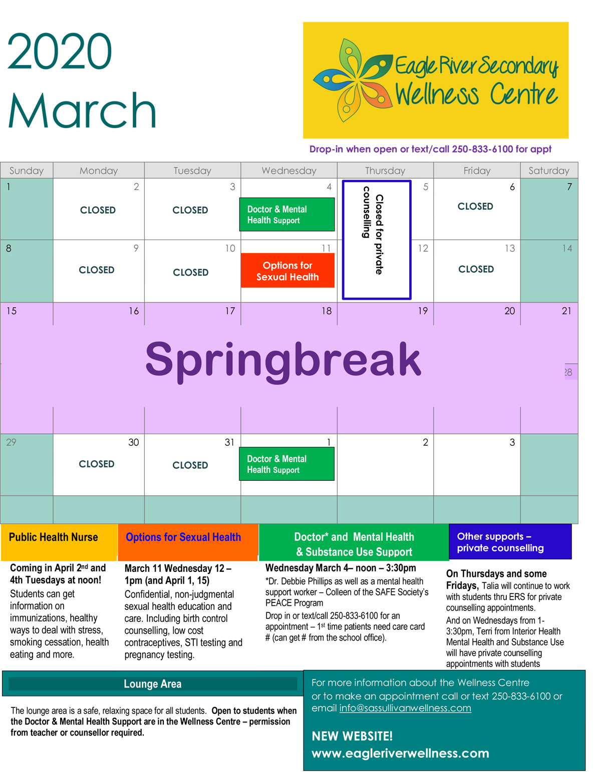 March 2020 ERS Wellness Centre Calendar