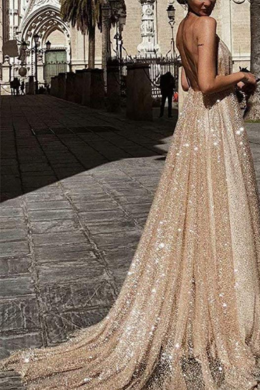 Sequin Evening Gowns - Ainidress Deep V Neck Long Backless Tulle Evening Gown
