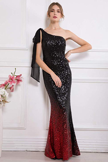 Sequin Evening Gowns - Angel Fashions Asymmetric Gradient Sequin Mermaid Gown