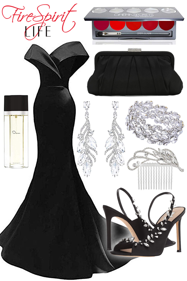 Off the Shoulder Black Mermaid Evening Gown
