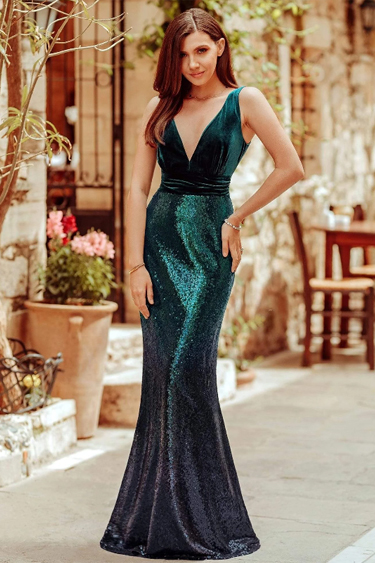 Sequin Evening Gowns - Ever-Pretty Double V Neck Sequin Mermaid Gown