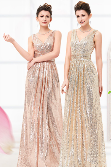 Sequin Evening Gowns - Kate Kasin Sequin Sleeveless Maxi Dress