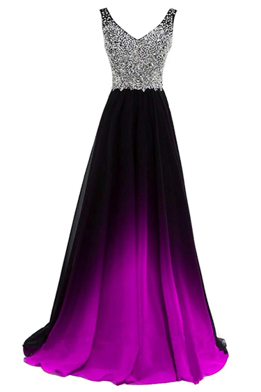Sequin Evening Gowns - Lemai Beaded Gradient Ombre Chiffon Gown