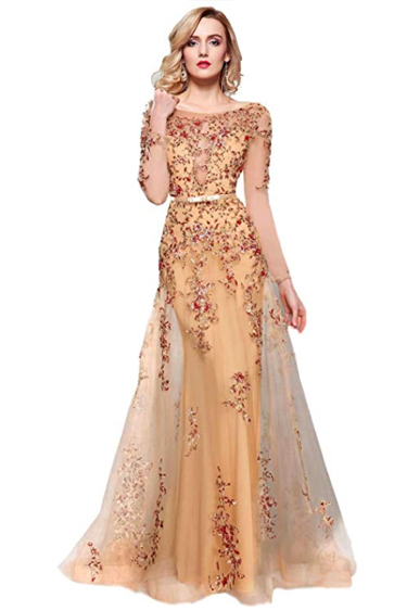 Valentine's Day Dresses - Meier Illusion Long Sleeve Embroidered Gown