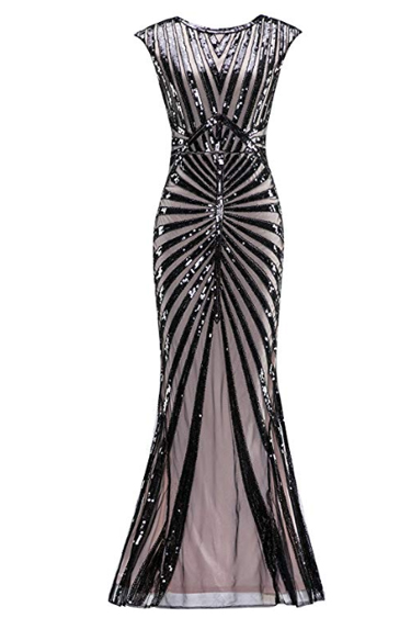 Sequin Evening Gowns - Metme 1920's Sequin Mermaid Gown
