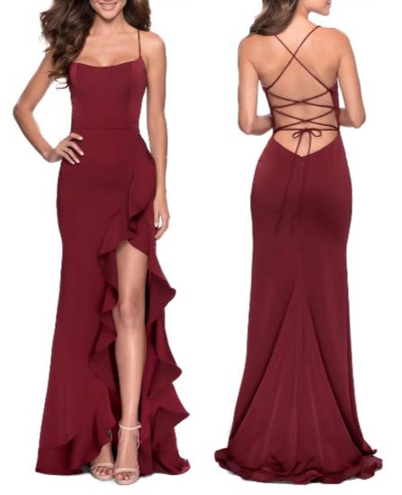Valentine's Day Dresses - La Femme Flutter Slit Trumpet Gown