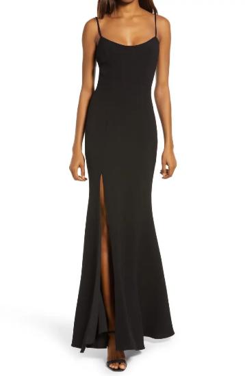 Valentine's Day Dresses - Dress the Population Jolene Slit Front Crepe Mermaid Gown