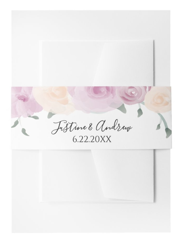 Watercolor Pink Cream Green Wedding Invitation Belly Band