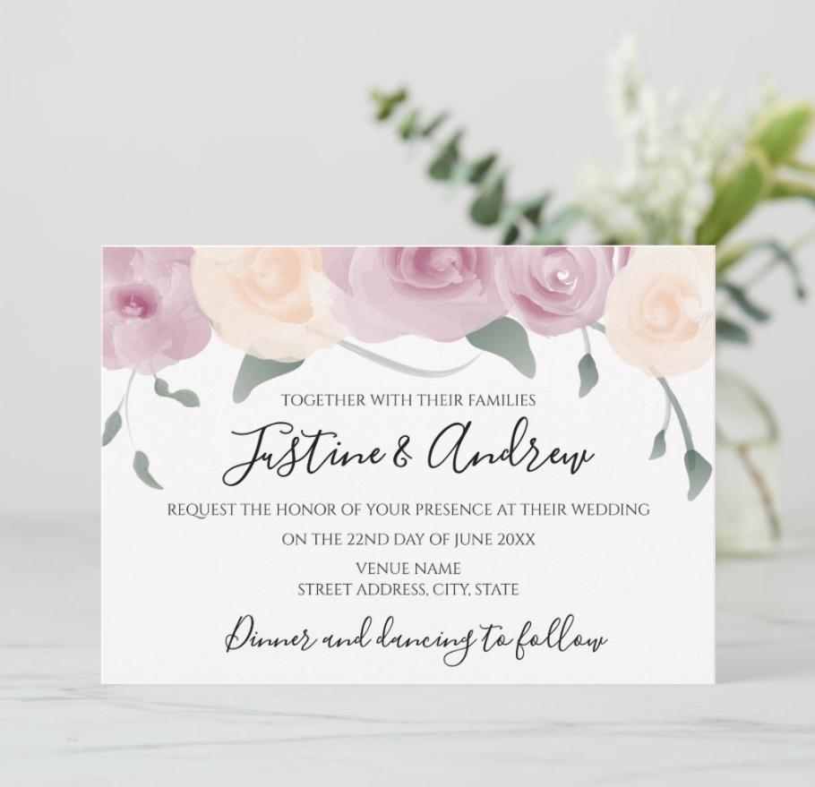 Watercolor Pink Cream Green Wedding Invitation