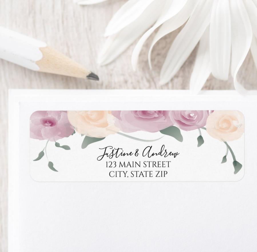 Watercolor Pink Cream Green Wedding Invitation Return Label