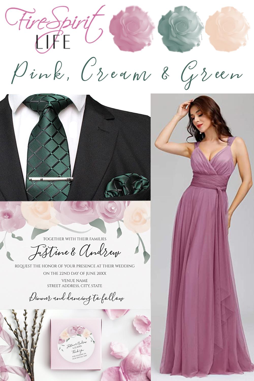 Pink Cream Green Wedding Suite