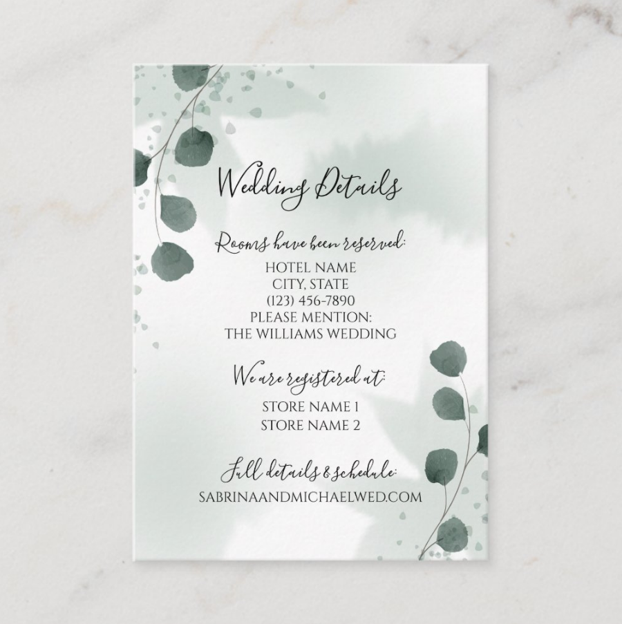 Watercolor Sage Green Eucalyptus Wedding Details Card