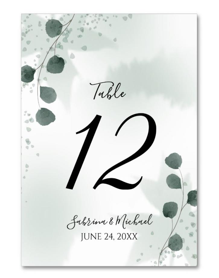 Watercolor Sage Green Eucalyptus Wedding Table Number