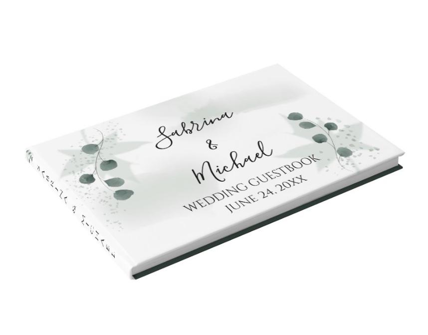 Watercolor Sage Green Eucalyptus Wedding Guest Book