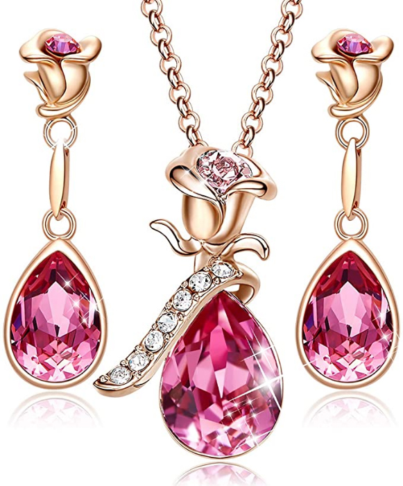 Pink Rose Gold Flower Jewely Set
