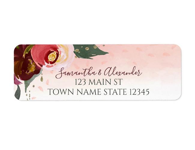 Burgundy Blush Watercolor Floral Return Address Label