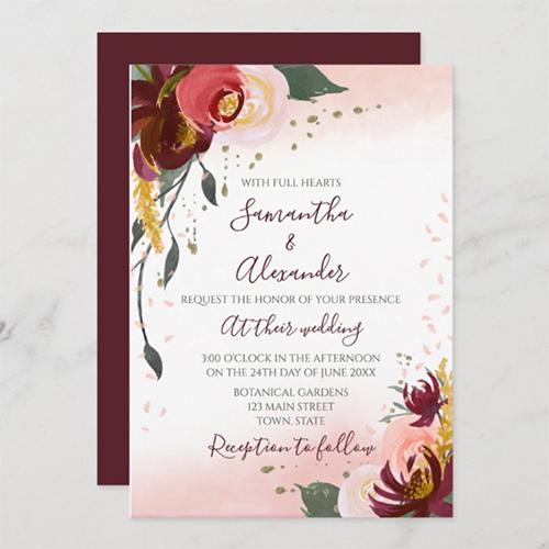 Burgundy Blush Watercolor Floral Wedding Invitation