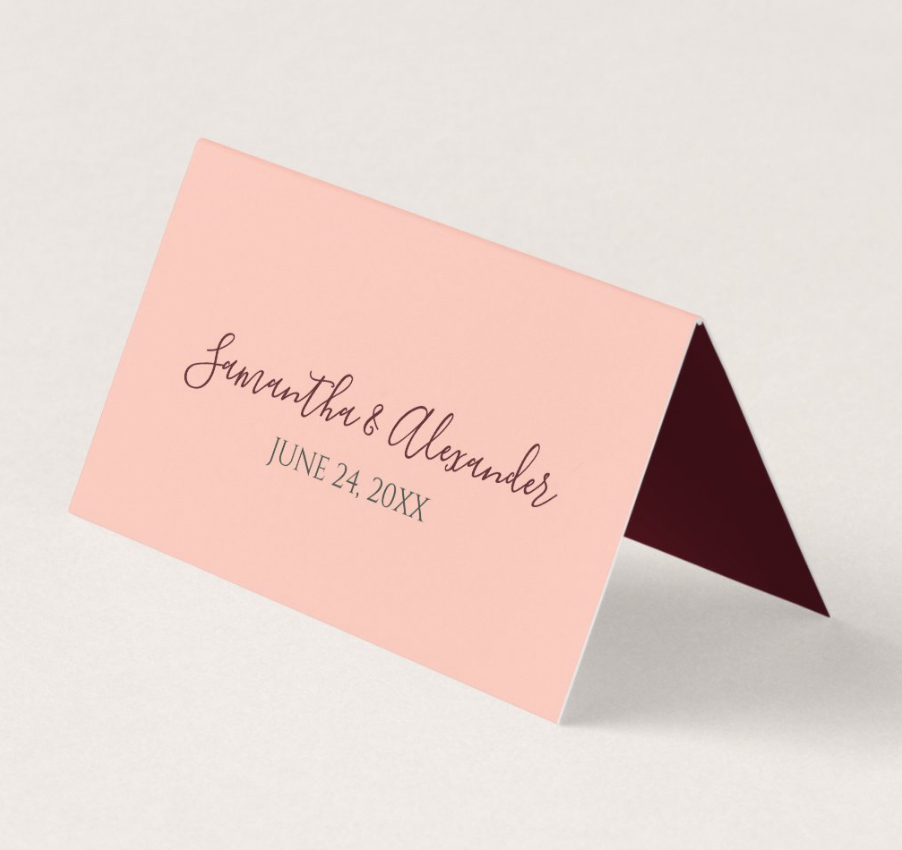 Burgundy Blush Watercolor Floral Wedding Place Card