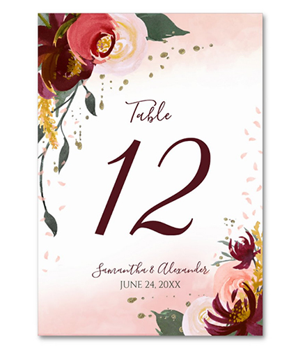 Burgundy Blush Watercolor Wedding Table Number