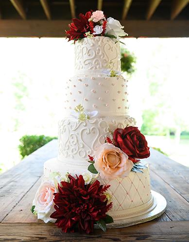 Burgundy Blush Wedding Cake