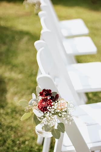 Burgundy Blush Wedding Chair Decoration