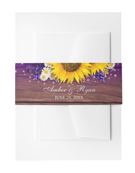 Purple Yellow Sunflower Wedding Invitation Belly Band