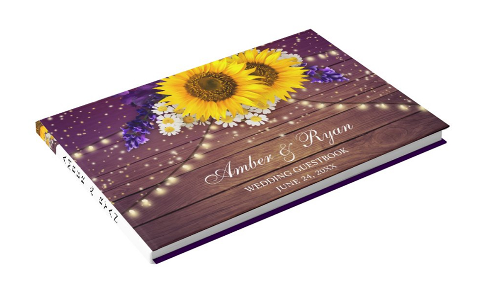 Purple Yellow Sunflower Wedding Invitation Guestbook