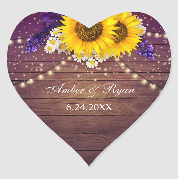 Purple Yellow Sunflower Wedding Heart Sticker