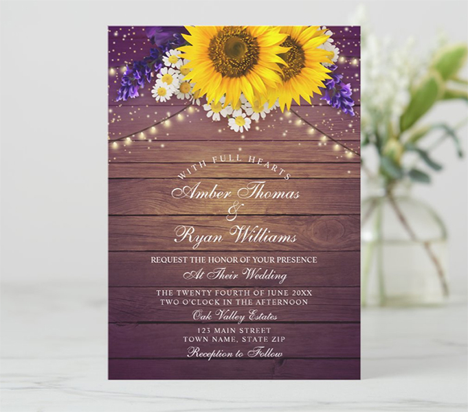 Purple Yellow Sunflower Wedding Invitation