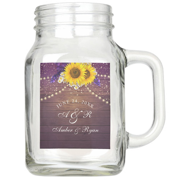 Purple Yellow Sunflower Wedding Mason Jar