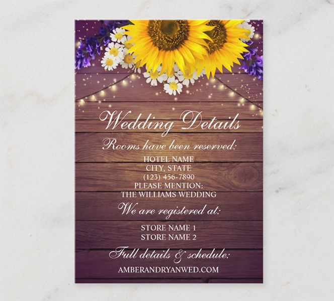 Purple Yellow Sunflower Wedding Details Card