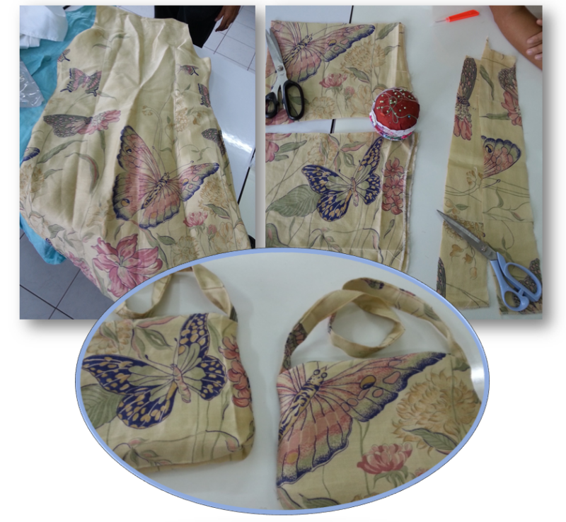 Recycling an old silk dress into small handbags