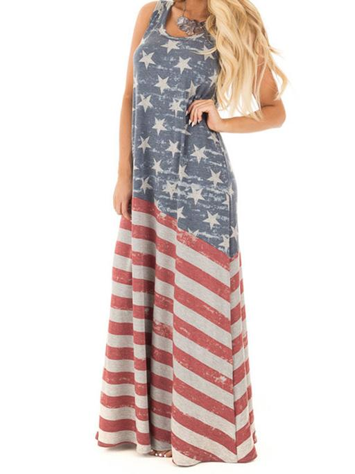 maxi dress patriótico de rayas y estrellas