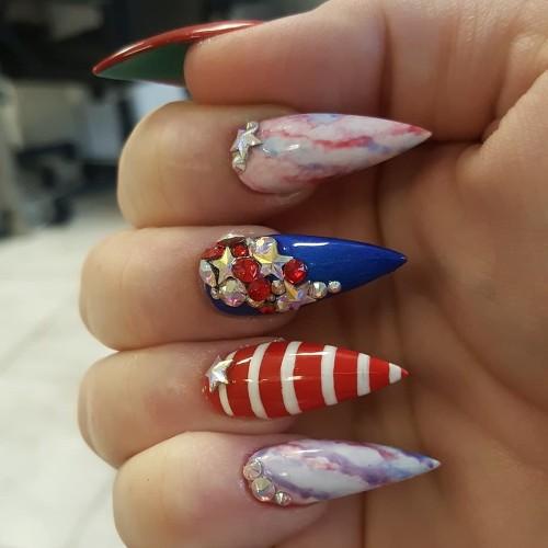 nail art patriota para el 4 de julio