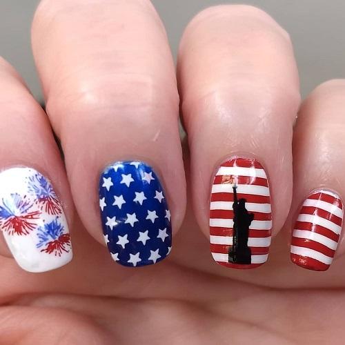 nai art para uñas el 4 de julio