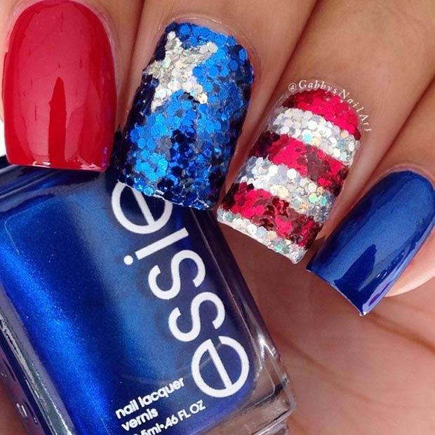 sequins nail art para el 4 de julio