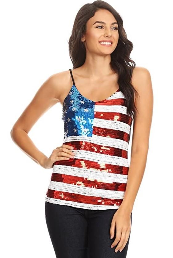 top de lentejuelas con la bandera americana