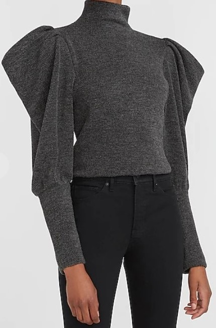 puff sleeves turtle neck