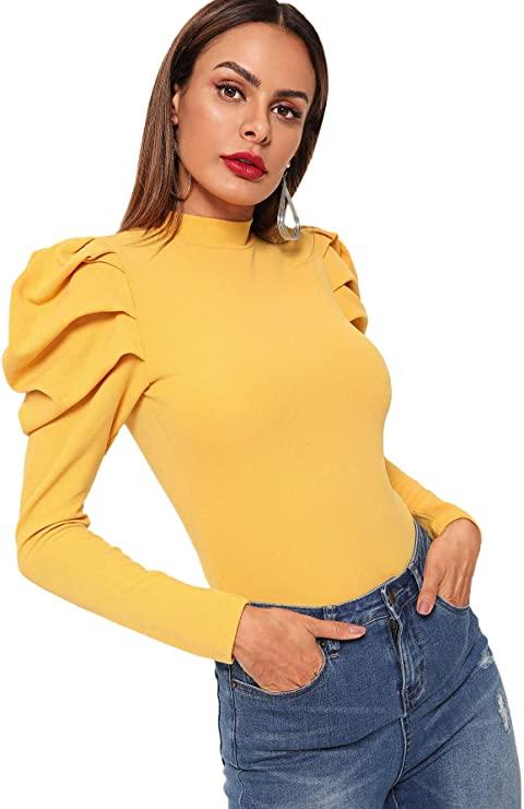 top amarillo con mangas statement