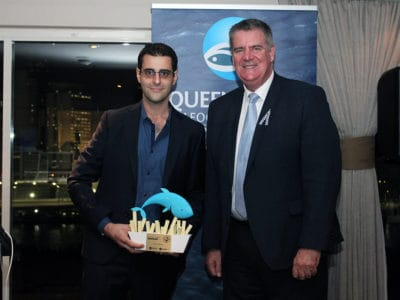Minister the Hon. Mark Furner presenting Best Fish & Chips award (Judges' Choice) to Fish & Chip Co. Wynnum
