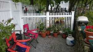 back yard of condo