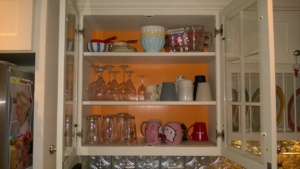 painting the glass front kitchen cabinet benjamin moore calypso orange